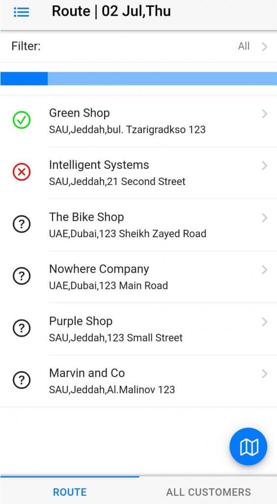 Dynamics Mobile Van-sales screenshot customer list