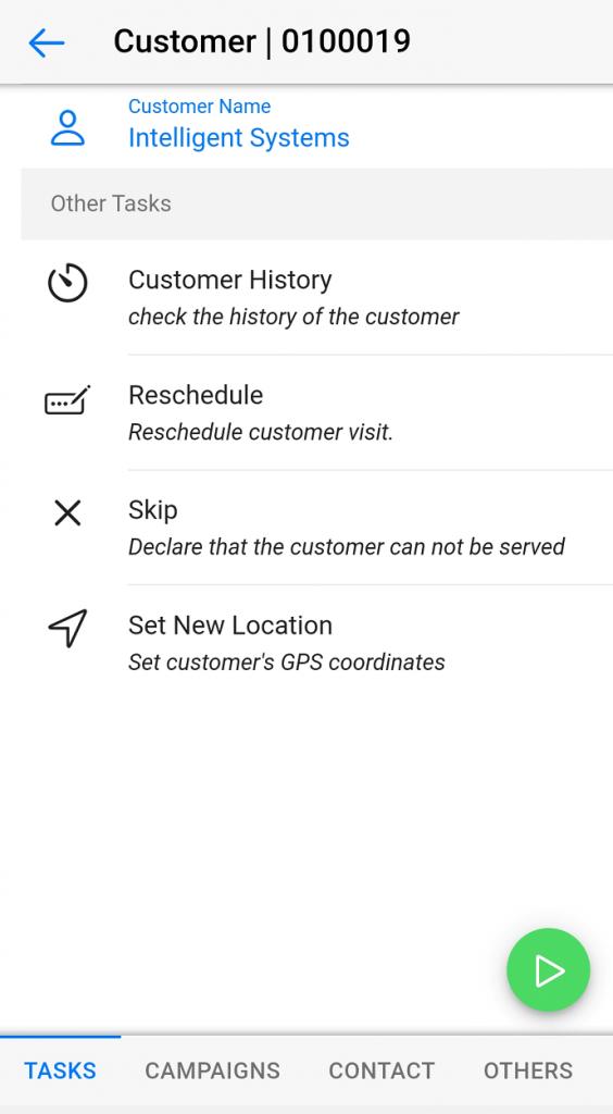 Dynamics Mobile Van-sales screenshot Next customer activities