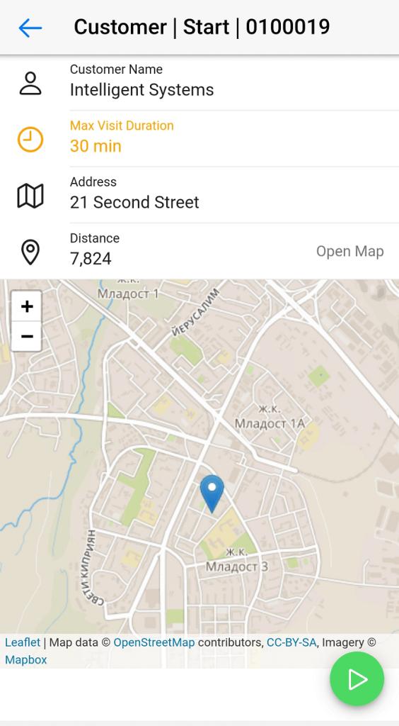 Dynamics Mobile Van-sales screenshot Start customer visit
