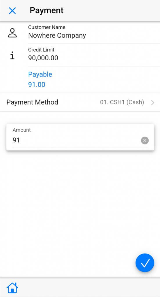 Dynamics Mobile Van-sales screenshot payment collection