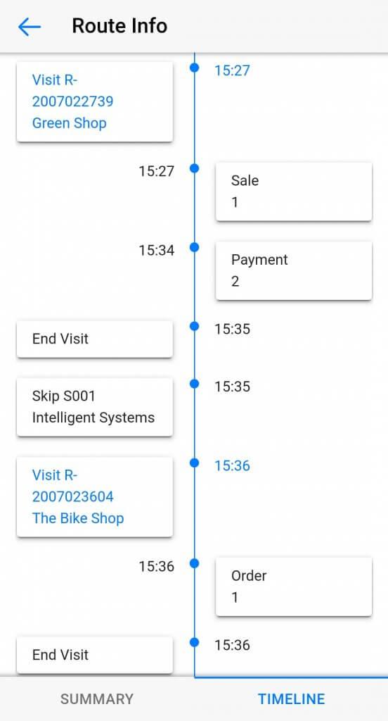 Dynamics Mobile Van-sales screenshot route report timeline