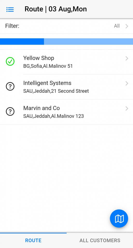 Dynamics Mobile Merchandise screenshot route list