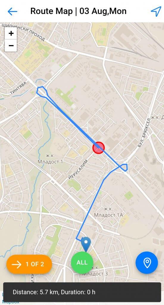 Dynamics Mobile Merchandise screenshot route map
