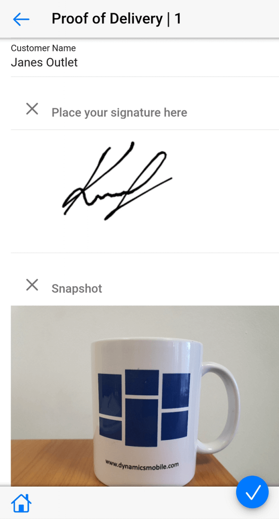 Dynamics Mobile Merchandise screenshot Proof of delivery