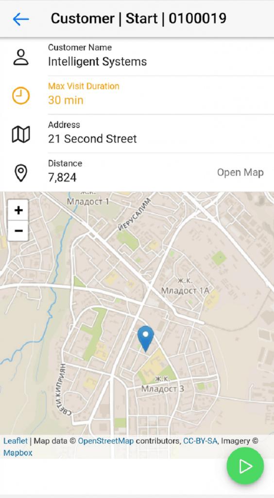 Dynamics Mobile Merchandise screenshot Start customer visit